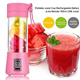 USB Juicer Cup, Portable Juice Blender, Household Fruit Mixer -380ml Fruit Mixing Machine with USB Charger Cable for Superb Mixing (Pink)