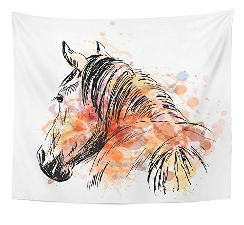 Emvency Tapestry Artwork Wall Hanging Watercolor Arabian Colored Hand Sketch Horses Behind Love Outline Sign Abstract 50x60 Inches Tapestries Mattress Tablecloth Curtain Home Decor Print