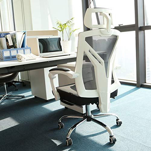 Hbada Ergonomic Office Chair - High-Back Desk Chair Racing Style with Lumbar Support - Height Adjustable Seat,Headrest- Breathable Mesh Back - Soft Foam Seat Cushion with Footrest, White by Hbada (Image #9)