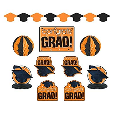"""Congrats Grad!"" Graduation Party Room Decorating Kit, Orange and Black, Paper, Pack of 10"