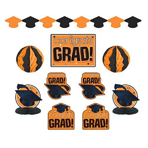 """Congrats Grad!"" Graduation Party Room Decorating Kit, Orange and Black, Paper, Pack of 10"