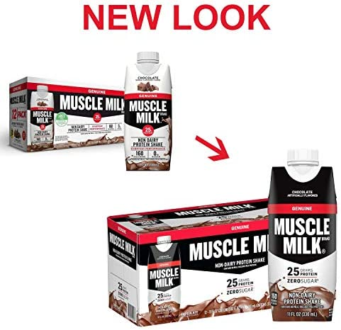 Muscle Milk Genuine Protein Shake, Chocolate, 25g Protein, 11 Fl Oz, 12 Pack