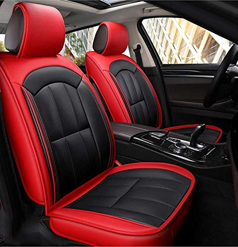 PU Leather Car Seat Cushions 5 Seats Full Set - Anti-Slip Suede Backing Universal Fit Car Seat Covers For Both Fabric And Leather Car Seate Cushions (Color : Red):
