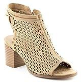 CALICO KIKI AVERY-CK01 Peep Toe Ankle Booties Zip Fashion (7 US Beige SU)