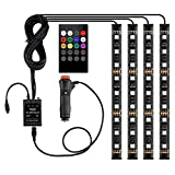 Car Interior Lights LED Under Dash Strip Lights Kits 4pcs 48 LED DC 12V Multicolor Music LED Kit with Sound Active Function and Wireless and Remote Control Car Charger Included