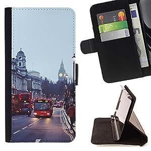 Bus Street Inglaterra City- Modelo colorido cuero de la carpeta del tirón del caso cubierta piel Holster Funda protecció Para Apple (5.5 inches!!!) iPhone 6+ Plus / 6S+ Plus