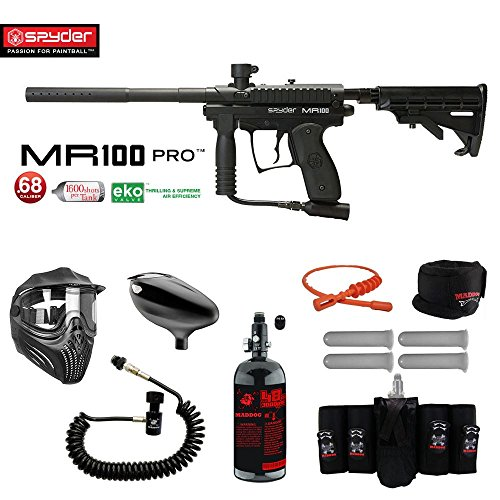 MAddog Spyder MR100 Pro Elite Remote HPA Paintball Gun Package - Black