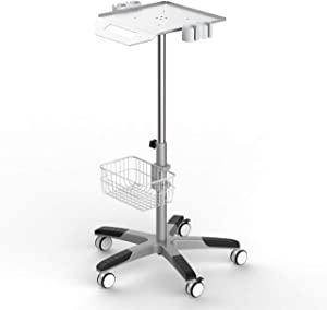 Mobile Rolling Cart for Ultrasound Imaging System Adjustable Height, Best for LCD Display Scanner.