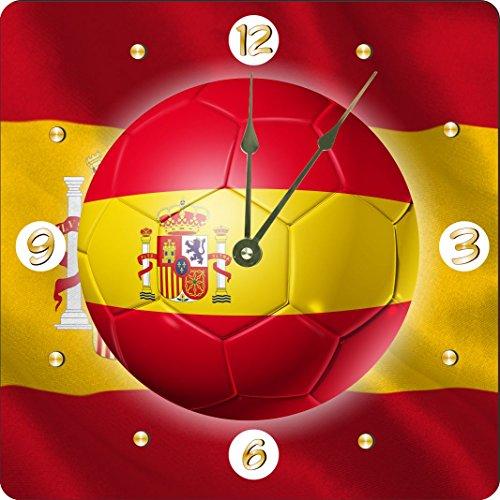 Rikki Knight Russia World Cup 2018 Spain Team Football Soccer Flag Design 6'' Art Desk Clock by Rikki Knight