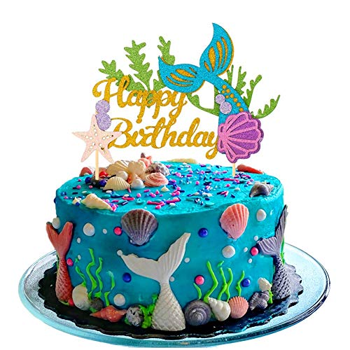 Sakolla Glitter Mermaid Cake Topper Happy Birthday Cake Picks Mermaid Cake Decoration for Mermaid Baby Shower Birthday Party Supplies -