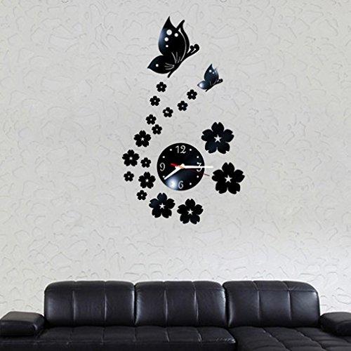 Decorative Clock Black Tile (Rumas Butterfly Removable DIY Acrylic 3D Mirror Wall Sticker Decorative Clock (Black))