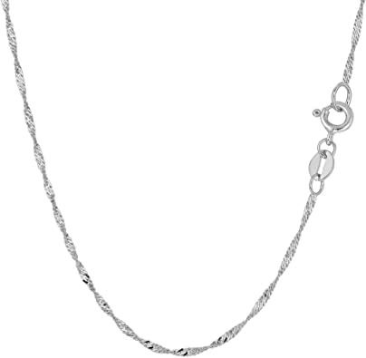 """14k 18/"""" Solid White Gold Non-Diamond Cut Round Wheat Chain with Lobster Clasp."""
