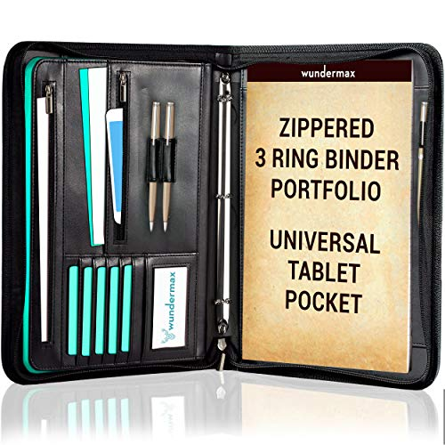 Wundermax Portfolio Binder A Zippered Padfolio with 3 Ring Binder Document Organizer Professional Interview PU Leather Folder Resume Holder Work Portfolio with Notebook and 10.1 Inch Tablet Sleeve