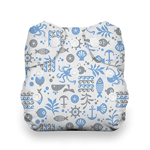 Thirsties Cloth Diapers (Thirsties Snap All in One Diaper, Ocean Life, Newborn)