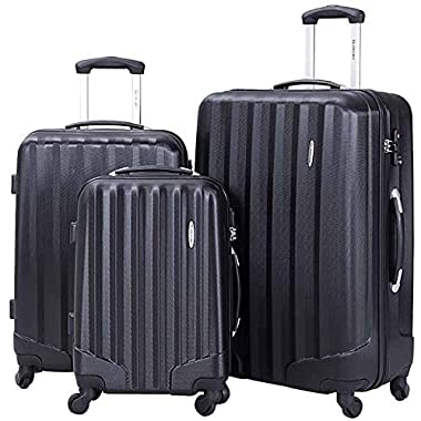 Lightweight Luggage 3 piece set,BestComfort Hardside Spinner Luggages with TSA lock,20inch 24inch 28inch