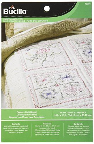 Bucilla Stamped Quilt Blocks, 46066 (Floral Stamped Cross Stitch)