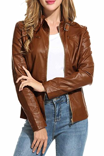 HOTOUCH Womens Faux Leather Zip Up Moto Biker Jacket Coffee M by Hotouch (Image #2)