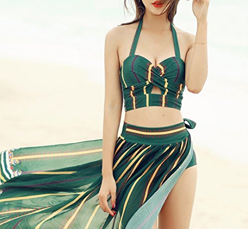 Small M Chest verde tre pezzi Swimsuit Lady Skirt Bikini Costume da bagno Covering Spa Gathering Beach HOMEE Camicia Summer xwvP1UHqH