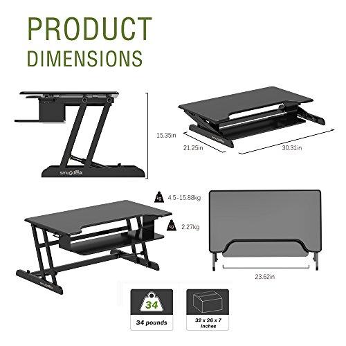 Standing Desk, Stand up Adjustable Desk Riser Converter for Desktop Laptop Dual Monitor by smugdesk (Image #2)