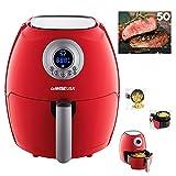 GoWISE USA Electric Digital Air Fryer w/ Button Guard & Detachable Basket 2.75 QT, 1350W (2.7 QT, Red)