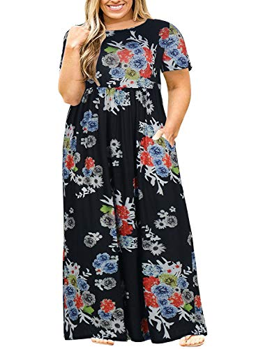 Nemidor Women Short Sleeve Loose Plain Casual Plus Size Long Maxi Dress with Pockets (16W, Red Flower)]()