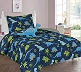 MB Collections Blue Dinosaur, Green Tree 3 Piece Printed Comforter with Pillowcase for Kids / Teens # Twin Size 3 Pcs Comforter Sets