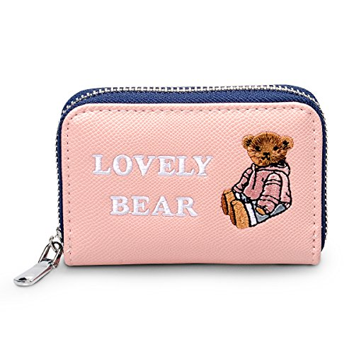 fency-womens-cute-bear-mini-embroidered-faux-leather-zip-around-card-holder-poono-series-rose-quartz