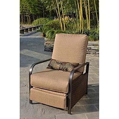 All-Weather Wicker Patio Furniture Recliner Chair, Rust-Resistant Steel Frame, Lumbar Pillow Included, Beige, Seats 1