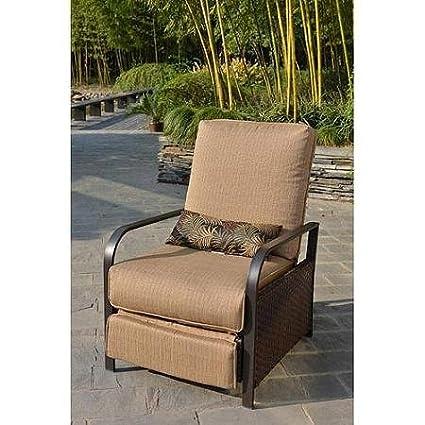 Leisure Garden Furniture Woven Wicker Outdoor Patio Recliner, Beige With  Coordinating Lumbar Pillow