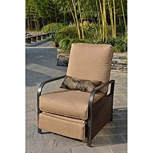 All Weather Wicker Patio Furniture Recliner Chair, Rust Resistant Steel  Frame, Lumbar Pillow Included, Beige, Seats 1