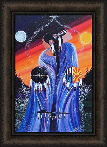 Balance by Betty Albert 16x22 Native American Indian Couple Man Woman Sun Moon Framed Art Print Picture