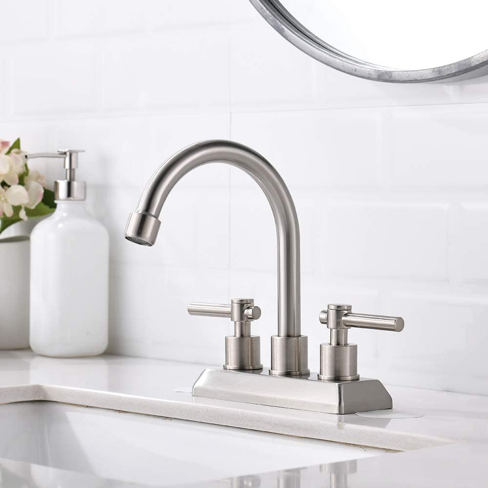 VESLA HOME Modern 2 Handles 2 Holes 4 Inch Centerset Brushed Nickel Bathroom Faucet,Lavatory Bathroom Vanity Sink Faucet with Water Supply Lines and Swivel Spout