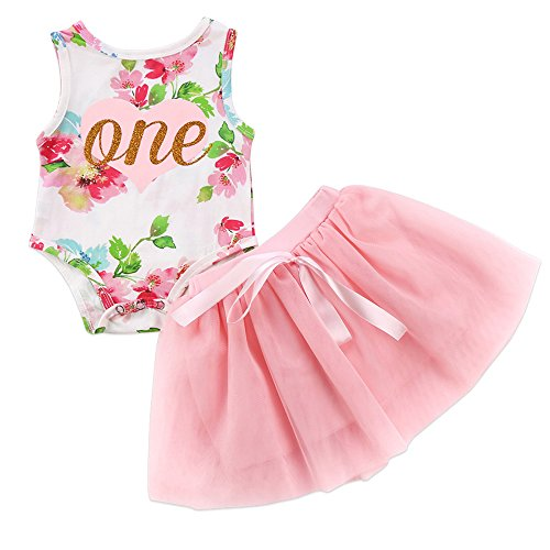 Baby Girl Summer Outfits 1st Birthday Romper Top Sleeveless Floral Tutu Skirt 2Pcs Clothing Set (Pink, 12-18 Months)