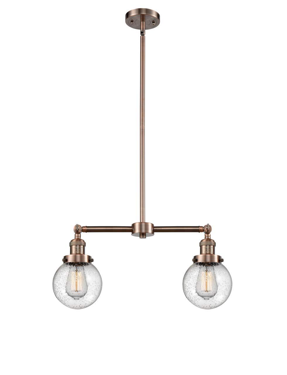 Innovations 209-AC-G204-6 2 Light Chandelier, Antique Copper