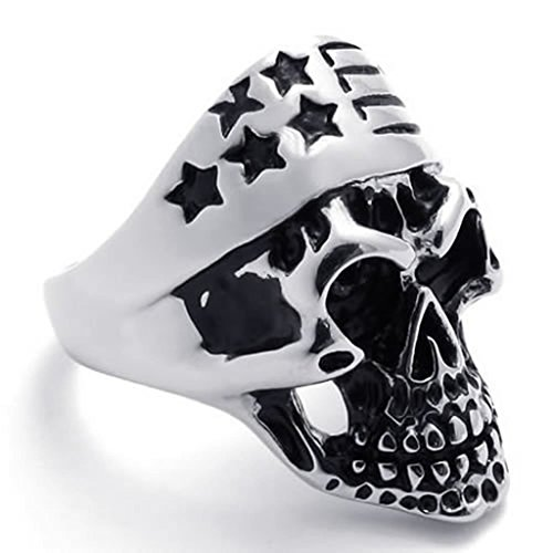 [Bishilin Stainless Steel Fashion Men's Rings Goth Skull Biker Black Silver Width 9mm Size 8] (The Real Batman Costume For Sale)