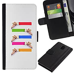 Paccase / Billetera de Cuero Caso del tirón Titular de la tarjeta Carcasa Funda para - Cute Paint Brushes - Samsung Galaxy Note 3 III N9000 N9002 N9005