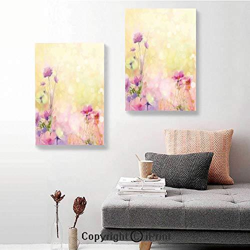SfeatruRWF Canvas Wall Art Decor,Vintage Soft Feminine Magnolia Blooms Motif Whorls Art,16