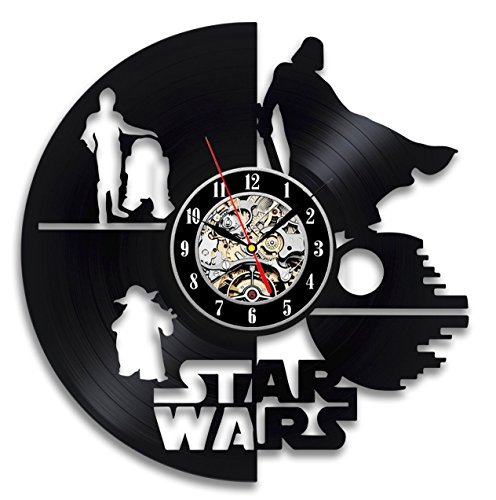 Star Wars Vinyl Record Wall Clock - Decorate Your Home with Modern Art - Gift for Kids, Girls and Boys