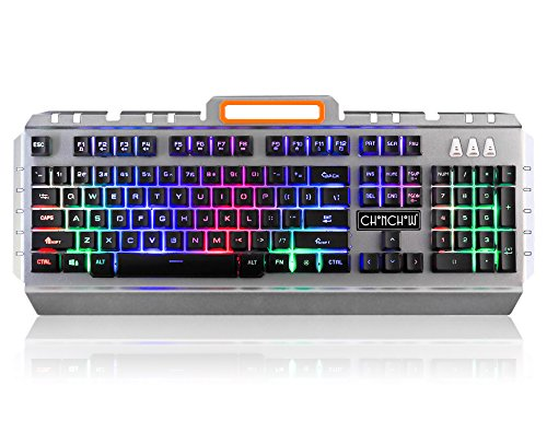 Gaming Led Backlit USB Keyboard CHONCHOW NK3 Rainbow Backlight Heavy Keyboard Character Illuminated with Phone Holder 19 Anti-ghost Keys for PC Window 7 8 10 Mac pro Game by CHONCHOW