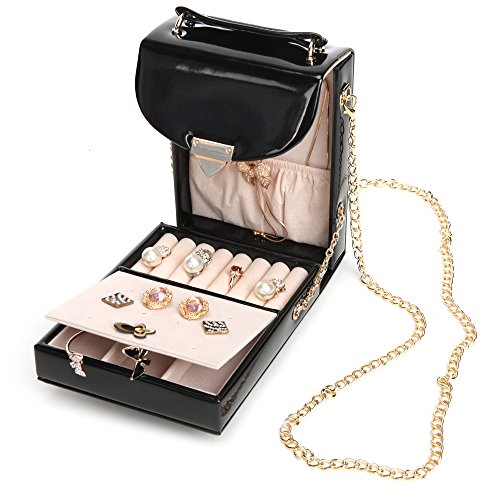 KingOfHearts Travel Jewelry Organizer Case - Leather Jewelries Display Box (Display Clutch Hinge)