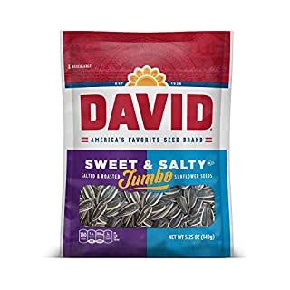 DAVID Roasted and Salted Sweet and Salty Jumbo Sunflower Seeds, 5.25 oz, 12 Pack