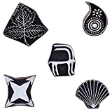 Printing Blocks Motif Wooden Leaf, Paisley, Star Stamps Fabric Clay Pottery Craft Art Tattoo Scrapbook Block Set of 5