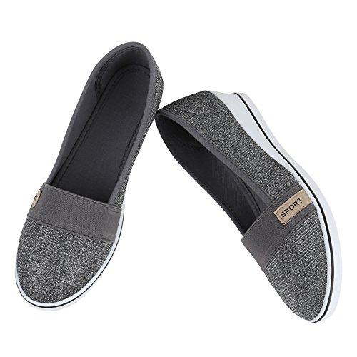 Damen Keilpumps Wedges Canvas Schuhe Pumps Keilabsatz Flandell Grau Glitzer