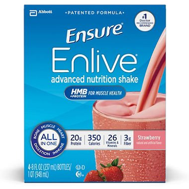 Ensure Enlive Nutrition Shake, Strawberry (8 fl. oz., 16 ct.)-2 PACKS