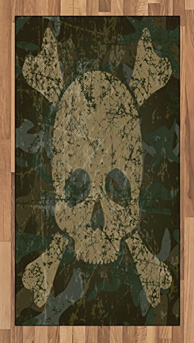 Ambesonne Camo Area Rug, Abstract Texture Skull and Crossbones Pattern Aged Rusty Grunge Style, Flat Woven Accent Rug for Living Room Bedroom Dining Room, 2.6' x 5', Green Cream