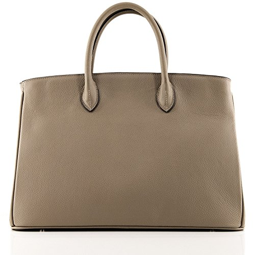 New Saison // Rouven // Icone 40 Tote Bag // Warm Taupe Otter // Gold // Damen Leder Tasche Shopper Handtasche // groß // edel modern chic puristisch (40x28x19cm)