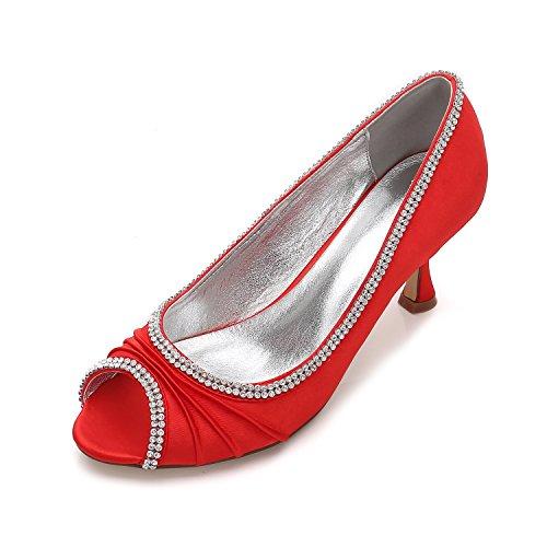 rosso in Il le matrimonio donna moda scarpe tacchi bocca pesce scarpe superficiali alla partito di Scarpe scarpe di bocca satinata alti strass Qingchunhuangtang qwgCpp