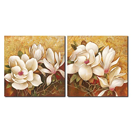 Pyradecor Magnolia Flowers Large Modern 2 Panels Gallery Wrapped Floral Giclee Canvas Prints Oil Paintings Artwork Style Brown Pictures on Canvas Wall Art for Living Room Bedroom Home Decorations L