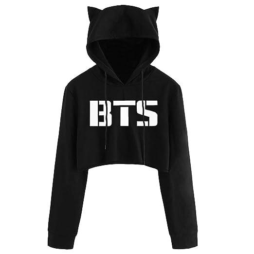 ee41326b0628e Bocaoying Women s Cat Ears BTS Crop Jumper Hoodie Love Yourself Fake Love  Jimin (Black