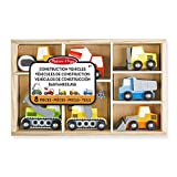 Melissa & Doug Wooden Construction Site Vehicles with Wooden Storage Tray (8 Piece)
